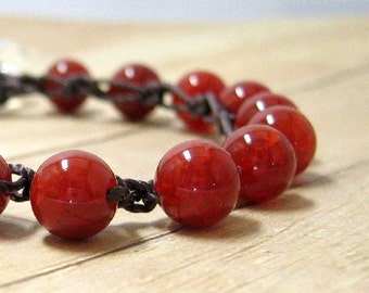Stone Bracelet, Crochet Bracelet, Orange and Brown Single Wrap Bracelet, Boho Chic Jewelry, Stone Jewelry, Stacking Bracelet