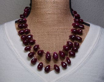 Huge Massive Real Genuine 957.35 Carats Earth Mined Quality Brazilian Rich Red Ruby Gemstones 2 Strand Silver Necklace