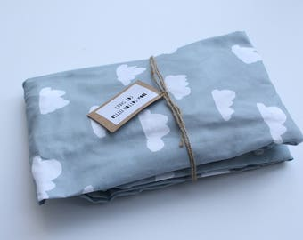 Fitted Cot Sheet / Fitted Crib Sheet in Grey Clouds print - READY TO SHIP by Little Dreamer