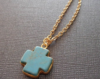 Turquoise Cross Necklace / Rustic Southwestern Cross Bezel / Turquoise Gold / Cross Necklace / December Birthstone Gift //GB15