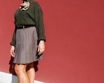 Vintage wool pleated skirt zipper sartorial watchmakers