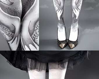 Tattoo Tights, Fox Tights black and white Closed Toe one size full length printed tights, pantyhose, nylons, tattoo socks