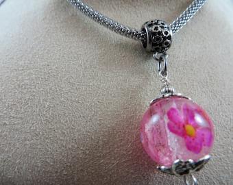 Memory bead - Real flower resin bead necklace pendant, pressed flower bead jewelry - pink flower bead, wedding jewelry