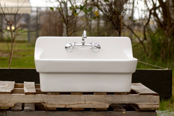 White Vintage Style High Back Farm Sink Original Porcelain