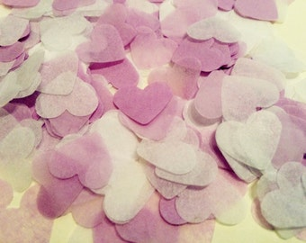 Lilac and white heart wedding confetti - biodegradable