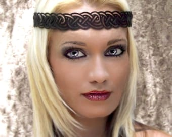 Celtic Knot Headwreath in Black Leather