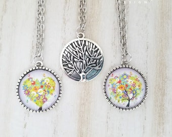 Family Tree Pendant Necklace-Mother's Day Gift-Heart Tree Jewelry-Family Jewelry-Gift for Mom-Tree Necklace-Heart to Heart Collection