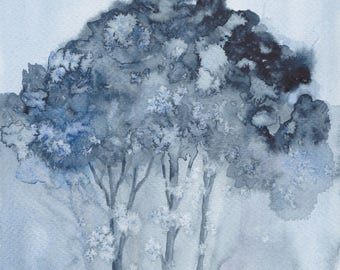 Clump of trees 2 - original watercolor painting