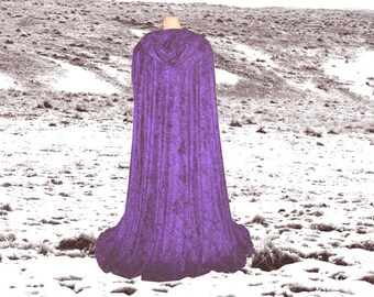 Hooded Cloak - Cape - Purple Velvet - Renaissance - Halloween Costume - Medieval- Harry Potter - Wedding - Fantasy- CosPlay- Druid-Elven