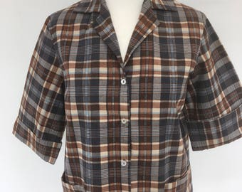 Early 1960's - Blue/Brown Checked Box Fit Lightweight Jacket - Approx UK Size 14.