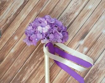 Flower Girl Wand, Hydrangea Wand, Purple Wand, Flower Girl Flowers, Flower Girl Accessories, Flower Wand, Butterfly Wand, Fairy Wand