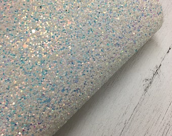 White Iridescent Chunky Glitter Fabric Enchanted