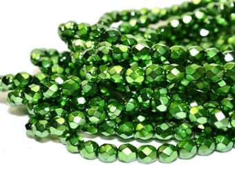 Clearance - Green Carmen Fire Polished Czech Glass Beads 6mm - CZ0044 50 pcs