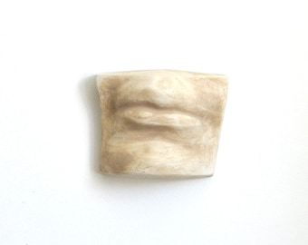 Vintage Ceramic Mouth Wall Hanging Sculpture