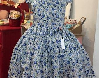 Liberty dress handmade in Felicite blue fabric floral print, age 5-6 years, tana lawn, Tea dress,