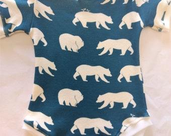 ORGANIC Baby Bodysuit Blue Bears - Multiple Sizes - HANDMADE