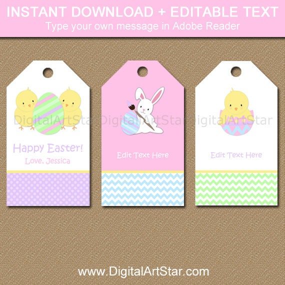 Easter tags easter gift tags easter bunny tags kids zoom negle Choice Image