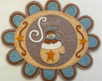 NEW*** Warm Woolen Mitten Wool Applique Kit Wool Applique Penny Rug Kit Candle Mat Kit Snowman Applique Kit Christmas Embroidery Kit