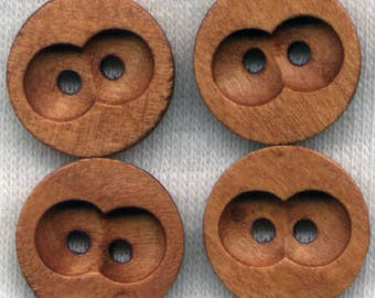 Rusty Brown Wood Buttons Owl Eyes Wooden Buttons 15mm (5/8 inch) Set of 8 /BT192