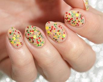 Jamaica - custom Summer Destinations scented nail polish glitter bomb red green yellow dots