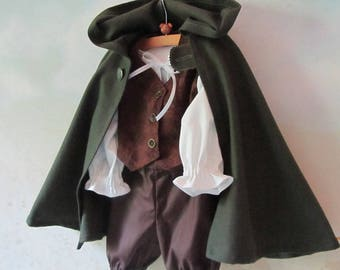 Baby/Kid's Hobbit Costume: Cloak, Fully Lined Vest, Shirt, Pants - All Cotton - Size 12 - 18 Months - Ready To Ship