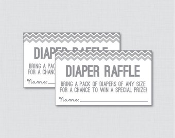 Chevron Baby Shower Diaper Raffle Tickets And Sign In Gray