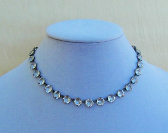 Vintage crystal necklace, 1930's necklace with un-foiled crystals set in silver-tone metal, wedding necklace