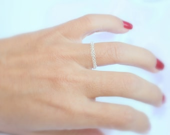 Delicate chain ring / sterling silver ring / simple silver ring,everyday / Silver chain ring / gold chain ring / Double chain ring