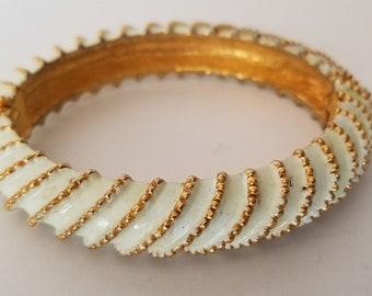 Vintage KJL white enamel bracelet, KJL hinged enamel gold tone bangle, Kenneth Lane bangle, Signed KJL bracelet, circa 1980