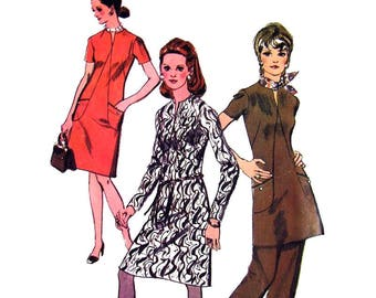 1970s Dress Tunic Pants Pattern Simplicity 9013 Front Seam Interest Womens Bust 40 Vintage Sewing Pattern