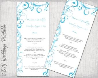 "Wedding Menu template - Malibu Blue DIY printable menu -""Scroll"" digital Turquoise menu -YOU EDIT template - instant download"