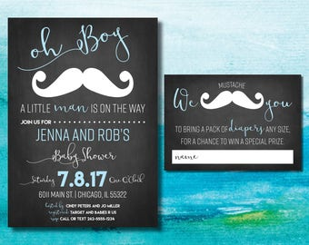Little Man Baby Shower Invitation | Mustache Baby Shower Invitation | Little Man on Way | Boy Baby Shower | Chalkboard | Oh Boy Baby Invite