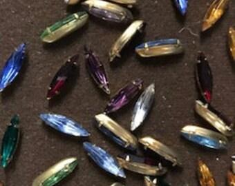 30pcs Vintage Set Crystal stones, 15x4mm, Asst colors, Raw Brass