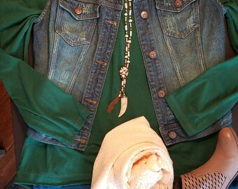 Dyed, Denim, Distressed, Vest, Upcycled, Size Jr Medium, Green-dyed