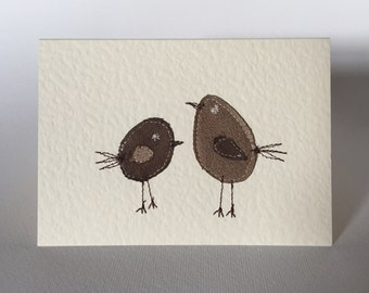Applique design Greetings Card ~ two little birds