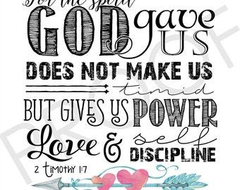 Scripture Art - 2 Timothy 1:7 ~ Watercolor (square format)