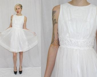 Vintage 60s Aldens WHITE Chiffon LACE Full Retro Mini Wedding Party Dress S
