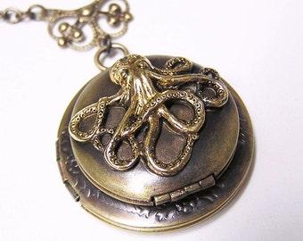 Double OCTOPUS LOCKET, Necklace Pendant