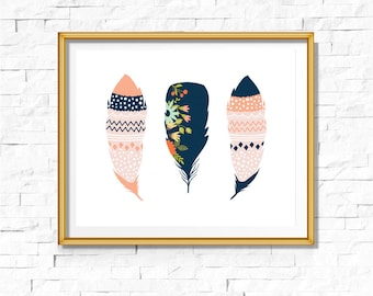 DIY Tribal Nursery Print | Feathers Print | Feathers Art| Boho | Bohemian Nursery |Wall Decor | Wall Art | Printable Art| Navy Coral | Bodhi
