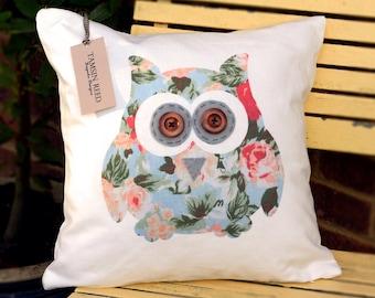 "HALF PRICE! Owl Cushion - Floral, Green Polka Dot, Tartan, Pink Polka Dot""The Owls of Hoot"" Collection, Tamsin Reed Designs"