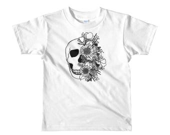 Skull and Flowers WHITE Short sleeve kids t-shirt