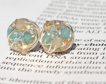 Pacific Sand Silver Series-  Signature Wire Wrapped Stud Earrings with tan and blue swarovski crystal beads