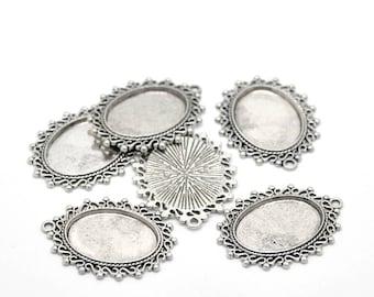 10 Antique Silver Cabochon Settings (Fits 24mm x 18mm ) 38mm x 29mm  (B470a)
