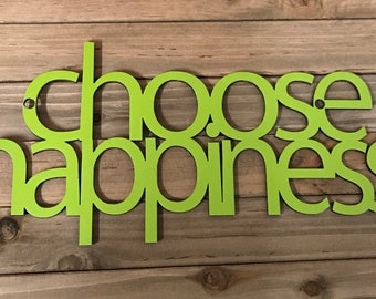 Choose Happiness sign, laser cut sign, home decor, wedding gift, wood words, word sign, happy sign, mother's day gift, wood sign, happy sign