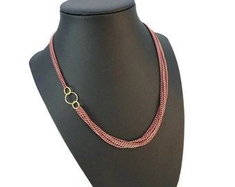 Multi Strand Pink Chain Necklace Brass Accents, Funky Adjustable Choker Necklace Chain, Ladies Chain Jewelry Pink and Gold Jewelry Design