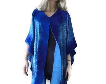 Pacific Blues Nuno Felt and silk Poncho ,Reversible ruana ,wrap- Amazing opera top in my beloved Kimono style-Only one available