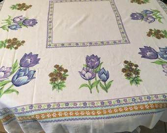 Mauve flowered tablecloth