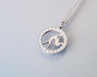"""Silver pendant with silver chain """"Pole Dance.Diva"""""""