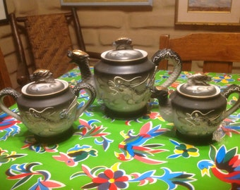 Vintage Meiyo China Nippon dragon ware Moriage ceramic teapot and cream and sugar set