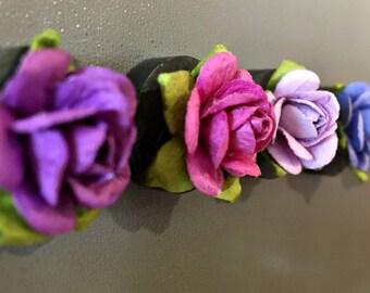 Paper Flower Magnets, Set of 5 Magnets, Refrigerator Magnets, Office Decor, Ceramic Magnets, Rose Magnets